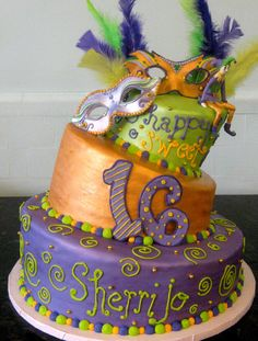 NOLA! Mardi Gras 16th Birthday Cake