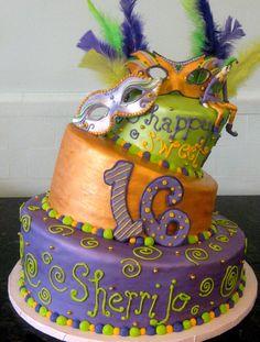 NOLA! Mardi Gras 16th Birthday Cake