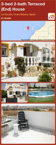 3-bed 2-bath Terraced (End) House in La Florida, Costa Blanca, Spain ►€119,000 #PropertyForSaleInSpain
