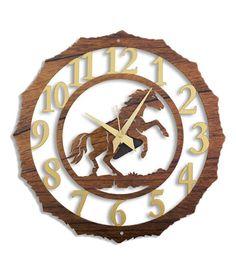 Laser Venue Wood finish Laser Cut Horse Wall Clock