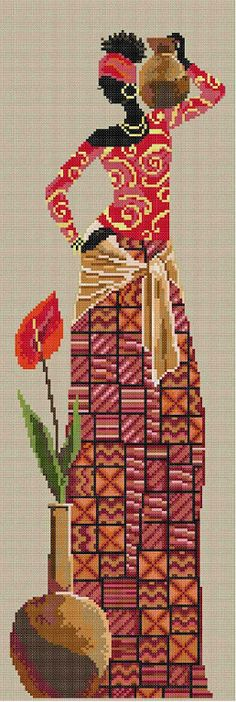 me wp-content uploads 2015 06 africana-com-jarro-de-agua. Cross Stitch Charts, Cross Stitch Patterns, Cross Stitching, Cross Stitch Embroidery, Hobbies And Crafts, Diy And Crafts, Afrique Art, Bordados E Cia, Crochet Cross