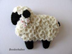 Felt Lamb Pin / Felt Lamb Brooch by Beedeebabee on Etsy
