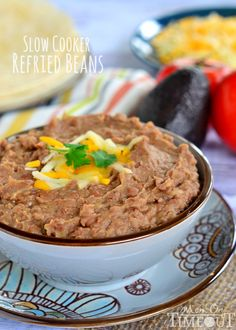 Easy and delicious Slow Cooker Refried Beans (without the refry!) | MomOnTimeout.com