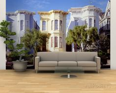 Cars Parked in Front of Victorian Houses, San Francisco, California, USA Wall Mural – Large