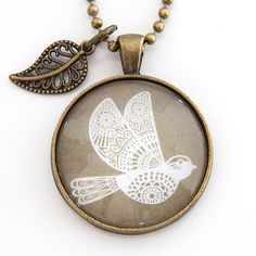 White Dove pendant necklace with leaf charm in Antique Bronze from Nest of Pambula