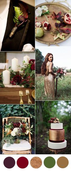 gorgeous gold and burgundy woodland wedding colors