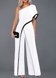 One Sleeve Contrast Piping White Jumpsuit One Sleeve Contrast Piping White Jumpsuit – Inspirational Fashions LLC - Jumpsuits and Romper Classy Dress, Classy Outfits, Chic Outfits, Fashion Outfits, All White Party Outfits, Fashion Wear, Fancy Dress, Fashion Jewelry, Jumpsuit With Sleeves