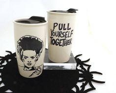 Bride of Frankenstein travel mug pull yourself together
