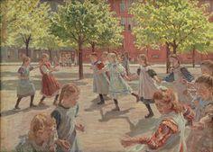 Peter Hansen (1868-1928), 'Legende børn. Enghave Plads', 1907-08. kms2075