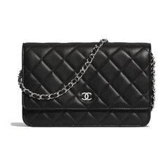 finest selection c3121 c1f8c Lambskin   Silver-Tone Metal Black Classic Wallet on Chain