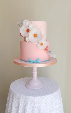 Beautiful Cake Pictures: Soft Peachy Pink Cake with Large Flowers Cake - Birthday Cake, Colorful Cakes, Flower Cake, Pink Cakes, Wedding Cakes - Beautiful Cake Pictures, Beautiful Cakes, Girly Cakes, Fancy Cakes, Pretty Cakes, Cute Cakes, Fondant Cakes, Cupcake Cakes, Colorful Cakes