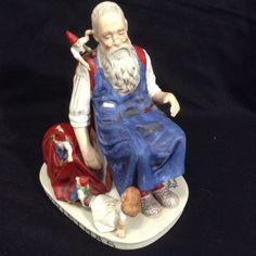 Norman Rockwell Sleeping Santa Work Shop Christmas Figurine Elves Danbury Mint