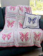 Crochet Pattern for Butterfly Afghan and Pillow