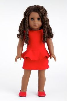 Lady in Red - Red cotton dress with matching red shoes - 18 Inch American Girl Doll Clothes American Girl Outfits, My American Girl Doll, American Girl Crafts, American Doll Clothes, Ag Doll Clothes, America Girl, Girl Dolls, Ag Dolls, Girl Fashion