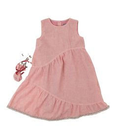 Coral Stripe Seed Pouch Dress - Toddler & Girls