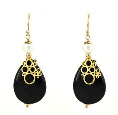 Bubble Onyx, Pearl and Gold plate earrings