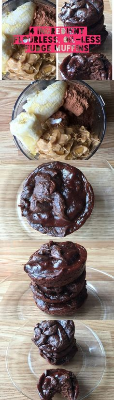 Flourless Chocolate Muffins. Super healthy muffin recipe with only 4 ingredients! NO flour, NO oil and NO refined sugar. Make them in minutes with no mixer!