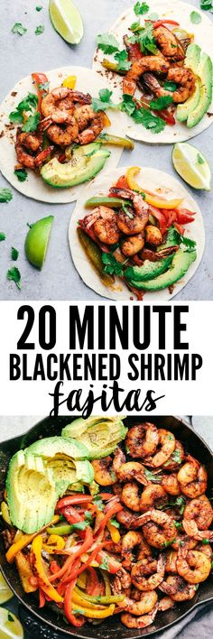20 Minute Skillet Bl 20 Minute Skillet Blackened Shrimp Fajitas are such an easy and flavorful meal packed with blackened shrimp peppers and onion. This classic meal is perfect served up in tortillas with avocado and chopped cilantro! Healthy Recipes, Fish Recipes, Seafood Recipes, Dinner Recipes, Cooking Recipes, Onion Recipes, Seafood Meals, Recipies, Shrimp Fajitas