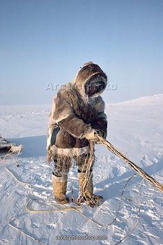 Aakuainuk, an Inuit hunter dressed in traditional caribou