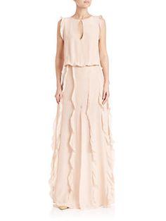 Alexis - Frances Ruffle-Trim Silk Dress