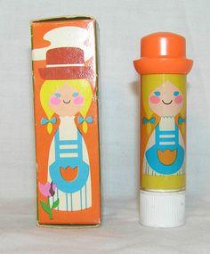 VINTAGE~1970's AVON SMALL WORLD LIPKINS BLONDE DUTCH CHOCOLATE LIP POMADE W/BOX