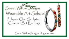SWD Polymer Clay Sculpted Channel Set Earrings