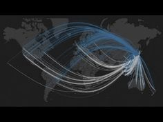 This visualization shows the volume of @replies traveling into and out of Japan and worldwide retweets in a one-hour period just before and after the