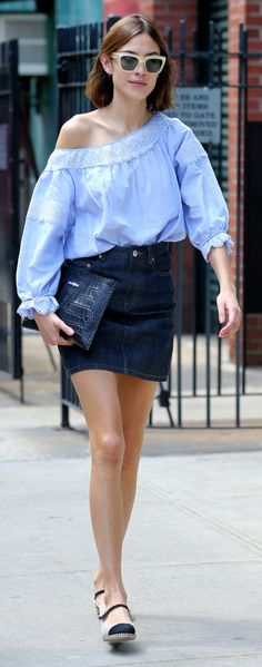 Style Secret Who: Alexa Chung What: A Denim Mini Why: Chung answers the question of what to wear on a warm New York day in an off the shoulder top paired with a dark denim mini. Get the look now: A.P.C. skirt, $110, apc.fr.