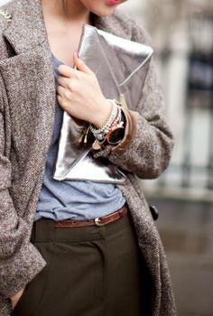 Slacks, t-shirt, and jacket