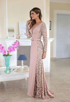V-Neck Lace Prom Dress, Generous Long Sleeves Prom Dress, Long Stain Evening Dress