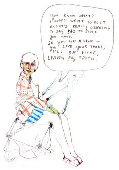 """Saying """"no"""" is totally okay. :: Mixed media on paper by Sirin Thada"""
