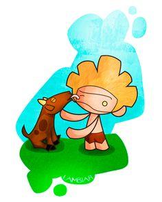 Lambiar: Dejar algo húmedo con la lengua, chupar, lamer. Ej: Ya Cabra lambió todo al pobre Gofio.