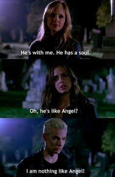 Hahaha poor Spike, he's in denial - Buffy the Vampire Slayer.miss this show. Best Tv Shows, Best Shows Ever, Favorite Tv Shows, Spike Buffy, Joss Whedon, Buffy Im Bann Der Dämonen, Fangirl, Bad Boy, Buffy Summers