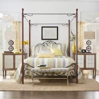 LeAnn Graceful Scroll Iron Metal Queen Canopy Poster Bed by Tribecca Home (LeAnn Bronze Metal Queen Canopy Bed), Brown Metal Canopy Bed, Black Bedding, Traditional Bed, Black Bed Set, Poster Bed, Bedroom Furniture, Bed, Bed Frame, Iron Bed