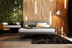 panneau décoratif mural en bois 3D rétroéclairé à côté du jardin vertical dans la chambre contemporaine qui respire la nature