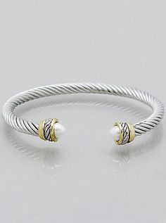 bijouxCable Classic Cuff Bracelets With Pearl 34-9163R-PEAR RHODIUM-CREAM