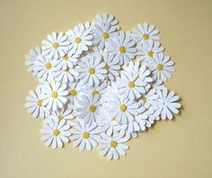 Pretty White Daisy Flower Die Cuts with Fuzzy by mydiecutboutique, $2.99