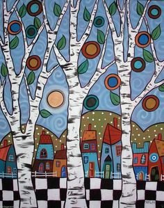 Rug Hooking Paper Pattern Checkered Town Folk Art Prim Abstract Karla Gerard | eBay