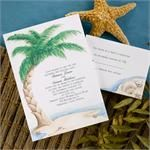 Party Wedding Invitations Island Bliss 25 Island Bliss invitations for weddings, tropical theme events and social occasions and response cards. The colorful, yet soothing beach scene on this bright white card is perfect for your destination wedding. Your invitation wording will be centered underneath the palm tree in your choice of ink color and lettering style. Respond folder features a coordinating seashell design in the lower right corner.Lower prices appear for 2 sets or more.