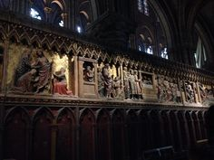 The elaborately carved backs of the choir stalls in the choir, Notre Dame (south stalls)