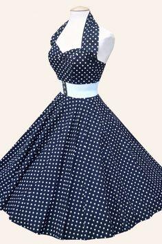 halter Navy Witte Spot jurk katoen sateen (Jaren 50 kleding - Jaren 60 kleding). Bijna al mijn zusjes (8) hebben die gedragen
