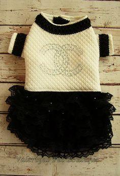 Jersey dog dress. Chanel dog dress Custom made designer dog