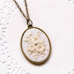 Whitework Hand Embroidery Necklace Flower Hand Embroidery