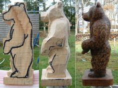 bear tutorial woodcarving. https://www.facebook.com/Bill.Sculptures.tronconneuse.Quebec
