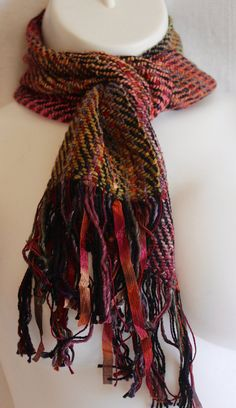 This beautiful one of a kind, twill weave scarf is made with cotton, silk and…