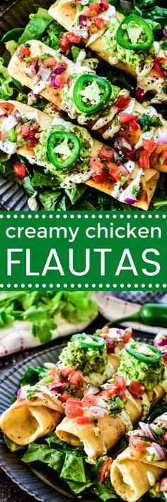 Flautas are a Mexican restaurant favorite, and this creamy chicken version is our favorite! Made with rotisserie chicken, two types of cheese, green enchilada sauce, and fresh cilantro, they're an easy, delicious dinner idea the whole family will love!
