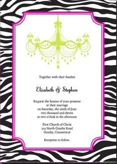 Free Download Zebra-Print and Chandelier Wedding Invitation  http://www.freetemplateideas.com/67-lovely-free-printable-wedding-invitations/