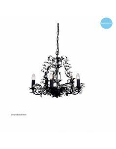 Hanglamp kroonluchter grijs, beige, zwart, wit, roest voor 5 kaarslampen E14