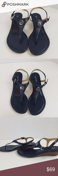 new Michael Kors ramona sandals wedge blue size 7 New without box Michael Kors Ramona thong sandals blue navy leather wedge size 7 flip flop Ramona Thong Slingback Sandals KORS Michael Kors Shoes Sandals