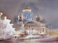 0063 Исаакиевский собор в электрическом освещении. Бумага, акварель, 56х76 2009. Частная коллекция (Россия, Санкт-Петербург)